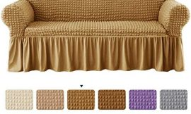 CHUN YI Universal Sofa Slipcover with Skirt 1-Piece Fitted Couch Cover All-Purpose Furniture Protector, Washable High Elastic Durable Seersucker Fabric (Medium,Mango)