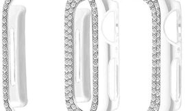 Supoix Compatible for Apple Watch Case 44mm, 2 Pack Women Soft Bling PC Full Cover Screen Protective Bumper Frame for iWatch Series 5 4 (Clear/44mm)