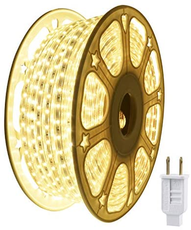 JUNWEN LED Strip Rope Lights,Warm White,Indoor Outdoor,Waterproof,2100LEDS 114FT/35M,Xmas Decorative,Plugin 110V, String Lighting, Flexible, SMD 2835,Connectable, Cuttable, Connector,Fuse Holder