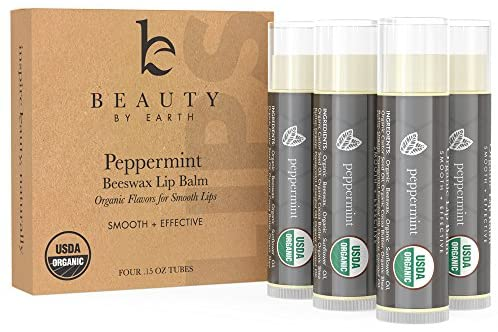 Organic Lip Balm Peppermint – 4 Pack of Natural Lip Balm, Lip Moisturizer, Lip Treatment for Dry Lips, Lip Care Gifts for Women or Men, Lip Repair, Organic Chapstick for Soft Lips, Stocking Stuffers