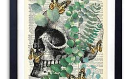 Human Skull with Eucalyptus and Butterflies, Vintage Dictionary Art Print, Modern Contemporary Wall Art For Home Decor, Boho Art Print Poster, Country Farmhouse Wall Decor 8×10 Inches, Unframed