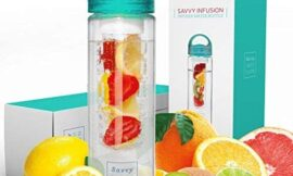Savvy Infusion Water Bottles – 24 or 32 Ounce Fruit Infuser Bottle – Featuring Unique Leak Proof Silicone Sealed Cap with Handle – Great Gifts for Women