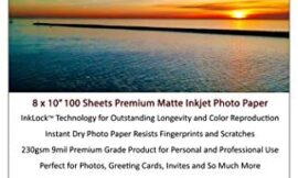 Premium Matte Inkjet Photo Paper For Printing- 100 Sheets 230gsm 10.4mil (8-x-10-inch) | A Beautiful Bright White Paper For All Inkjet Printers | Universal Paper That Can Also Be Written On