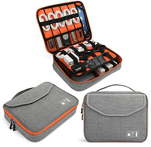 """Electronics Bag, Jelly Comb Electronic Accessories Travel Cable Organizer Waterproof Cord Storage Bag for Cables, iPad (Up to 11""""),Power Bank, USB Flash Drive and More-(Orange and Gray, 11in)"""