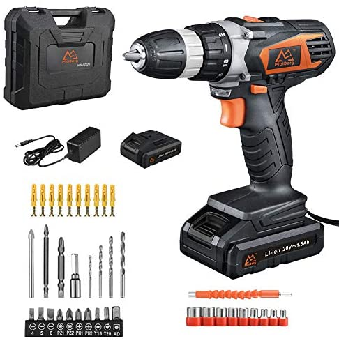 MAIBERG 20V MAX Lithium Ion Cordless Drill, Power Drill Set with 2 Batteries, 3/8 inches Keyless Chuck, Variable Speed, Built-in LED, 18 Position and 38pcs Drill/Driver Bits
