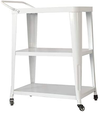 Overstock Harold 3-Tiered Industial Mobile Metal Bar/Dining Cart White