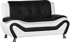 Kingway Furniture Gilan Faux Leather Living Room Loveseat in Black and White