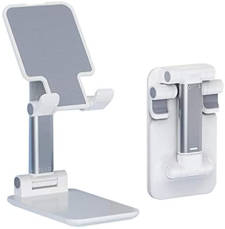 Cell Phone Stand,Nesyd Angle Height Adjustable Desktop Holder Tablet Stand Mobile Phone Mount for Desk Sturdy Aluminum Metal Stand Compatible with Mobile Phone/iPad/Kindle/Tablet (White)