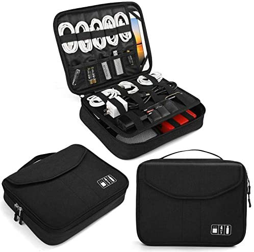 """Electronics Bag, Jelly Comb Electronic Accessories Travel Cable Organizer Waterproof Cord Storage Bag for Cables, iPad (Up to 11""""),Power Bank, USB Flash Drive and More-(All Black)"""