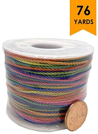 Rainbow String Multicolor Braided Jewelry Cord Crafts Beading Twine 70mts/ 76.5 yd