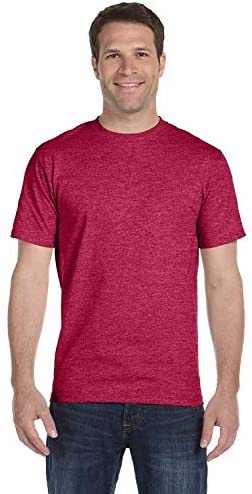 Hanes Lay-Flat Tag-Free Crewneck Beefy T-Shirt, Heather RED, Large