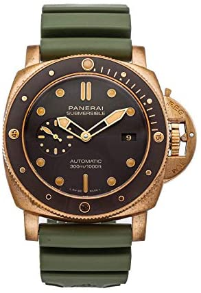 Panerai Submersible Mechanical (Automatic) Brown Dial Mens Watch PAM 968 (Pre-Owned)