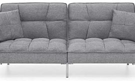Best Choice Products Convertible Linen Splitback Futon Sofa Couch Furniture w/Tufted Fabric, Pillows – Dark Gray
