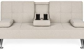Best Choice Products Modern Linen Convertible Futon Sofa Bed w/Metal Legs, 2 Cupholders – Beige
