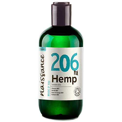 Naissance Organic Cold Pressed Hemp Seed Oil 8.5 fl oz / 250ml – UK Certified Organic, Vegan, Unrefined. Rich in Omega 3, 6 and 9