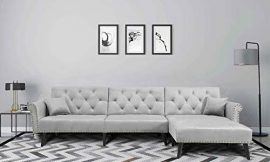 Upholstered Mid Century Sectional Sofa Futon Couch with Reversible Chaise with Adjustable Back Sofa Bed (Grey)