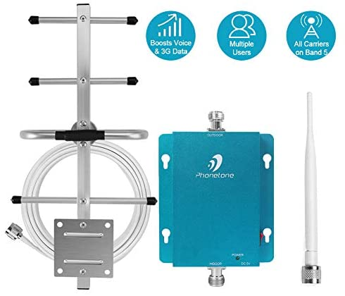 Cell Phone Signal Booster for Home and Office – 850MHz Band 5 GSM 3G Mobile Phone Repeater Amplifier Kit with Whip/Yagi Antennas – Reduce Dropped Calls for Remote Area
