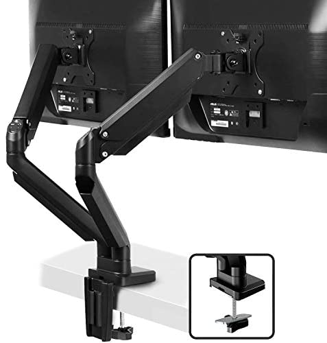 Dual Arm Monitor Desk Mount Stand – Premium Aluminum Height Adjustable Full Motion Gas Spring Monitor Mount Riser with C Clamp/Grommet Base for 17″ to 32″ Screens – Hold up to 17.6 lbs by IMtKotW