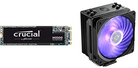 Crucial MX500 1TB 3D NAND SATA M.2 Type 2280SS Internal SSD & Cooler Master Hyper 212 RGB Black Edition CPU Air Cooler w/ SF120R 120mm RGB Fan, 4 Continuous Direct Contact 2.0 Heatpipes