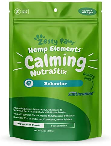 Calming Dental Sticks for Dogs – Stress & Anxiety Relief with Hemp, Melatonin & Chamomile – Dog Tartar Teeth Cleaning & Breath Freshener – Calm Composure for Fireworks, Thunderstorms & Barking