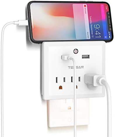 Multi Plug Outlet Extender with USB Wall Charger and Night Light, 3 Electrical Outlet Splitter 2 USB Phone Charger Wall Plug for Cruise Essentials, Multiple Power Outlet Expander with Charging Station