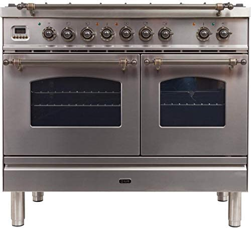 Ilve UPDN100FDMPIY Nostalgie Series 40 Inch Dual Fuel Convection Freestanding Range, 5 Sealed Brass Burners, 4 cu.ft. Total Oven Capacity in Stainless Steel, Bronze Trim (Natural Gas)