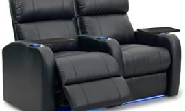Octane Seating Diesel XS950 Theater Chairs Black Premium Leather – Power Recline – Memory Foam – Accessory Dock – Straight Row 2 Seats
