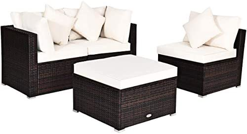 Tangkula 4 PCS Patio Rattan Sofa Set, Outdoor Wicker Sectional Furniture Set, Patio Conversation Set with Removable Cushions & Pillows for Backyard Porch Garden Poolside Balcony (Brown)