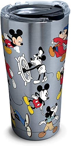Tervis Disney Mickey Mouse 90th Birthday Stainless Steel Insulated Tumbler with Clear and Black Hammer Lid, 20 oz, Silver