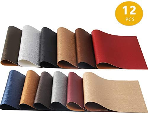 12 Colors Pearly PU Leather Fabric Shiny Leather Canvas Back 8″ x 12″ for Making Hair Bow Wallet Handbags Dressing Sewing Craft DIY Projects