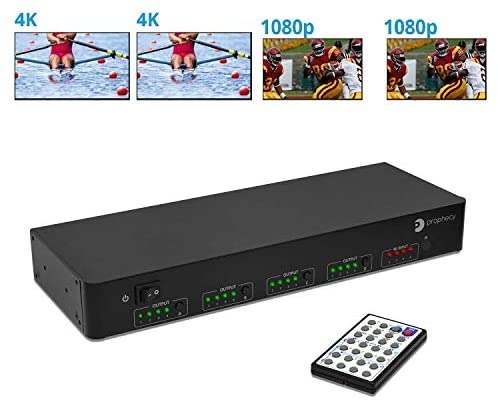 gofanco Intelligent 4×4 HDMI Matrix Switch 4K 60Hz YUV 4:4:4 HDR with Auto Downscaling (Output 4K & 1080p Together) & Alexa Echo Voice Control, HDMI 2.0, HDCP 2.2, 18Gbps, IR, RS-232, Control4