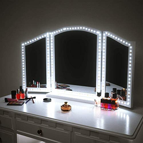 LED Vanity Mirror Lights for Makeup Dressing Table Vanity Set 13ft Flexible LED Light Strip Kit 6000K Daylight White with Dimmer and Power Supply, DIY Mirror, Mirror not Included (Renewed)