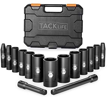 Tacklife 3/8-Inch Drive Deep Impact Socket Set, SAE, CR-V Steel, 6-Point, Heavy Duty Storage Case, 15pcs 3″ and 6″ extensions -HIS5A