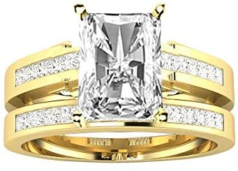 2.75 Ctw 14K White Gold Channel Set Princess Bridal Set Wedding Band and Matching GIA Certified Radiant Cut Diamond Engagement Ring (2 Ct Center D-E Color VS1-VS2 Clarity)