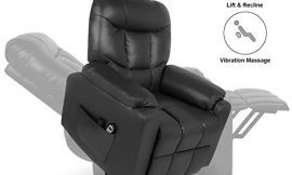 Home Power Lift Recliner Chair for Elderly with Massage, Faux Leather Lounge Chairs for Living Room Classic Single Sofa with Side Pockets Home Theater Seat (Black)