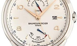 Baume Mercier Clifton Men's Swiss Automatic Watch – Round Silver Dial GMT and Sapphire Crystal – Black Leather Strap Swiss Made Watch for Men 10421