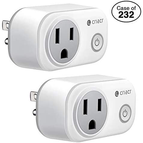 Case of 232 Packs, Cricar Smart Plug, WiFi Enabled Mini Smart Switch Sockets, Timing Function, Work with Amazon Alexa and Google Home, No Hub Required, Remote Control Your Devices from Anywhere-2 Pack