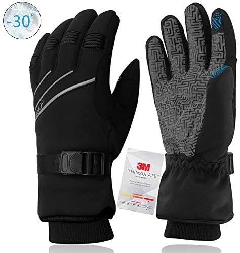 MOREOK Ski Gloves,3M Thinsulate Winter Thermal Gloves for Men Women Waterproof Windproof Touchscreen Breathable Sport Gloves with Membrane Layer, Cycling, Snowboard, Camping, Outdoor Sports Gloves
