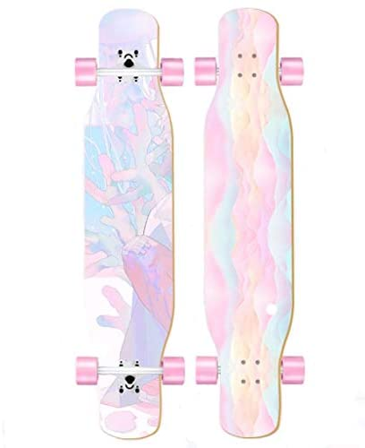 HJ Beginner Skateboard Longboard and Girls Professional Board Beginner Dance Board Cool Youth Adult Aluminum Alloy Brush Street 4-Wheel Scooter