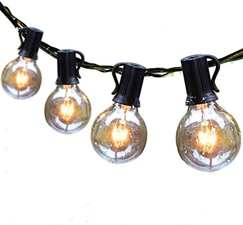 Guddl Outdoor String Lights 25ft Patio Lights with 27 G40 Bulbs (2 Spare) Connectable Globe String Lights for Party Tents Patio Gazebo Porch Deck Bistro Backyard Balcony Pergola Outside Decor