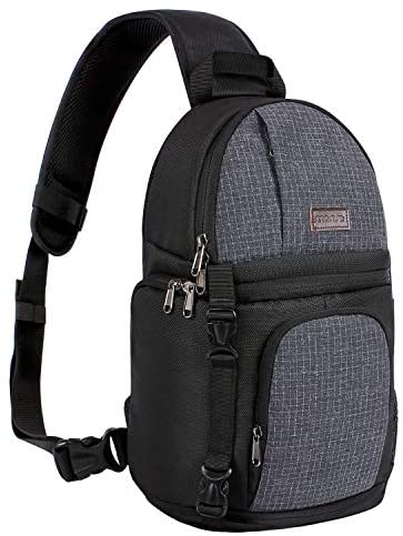 MOSISO Camera Sling Bag, DSLR/SLR/Mirrorless Case Water Repellent Shockproof Photography Camera Backpack with Tripod Holder & Removable Modular Inserts Compatible with Canon/Nikon/Sony/Fuji, Black
