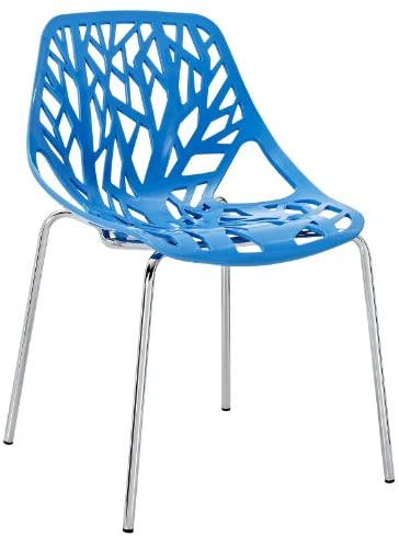 Modway Stencil Stackable Dining Side Chair in Blue