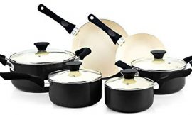 Cook N Home 10 Piece Nonstick Ceramic Coating Cookware Set, Black