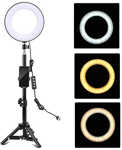 Docooler 8 Inch LED Ring Light with Tripod Stand Phone Holder Mini Ball Head Remote Control 3 Lighting Modes Dimmable USB Powered for Live Video Recording Network Broadcast Selfie Makeup