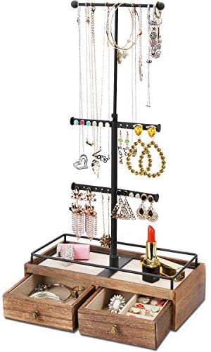 Keebofly Jewelry Organizer Metal & Wood Basic Storage Box – 3 Tier Jewelry Stand for Necklaces Bracelet Earrings Ring Carbonized Black