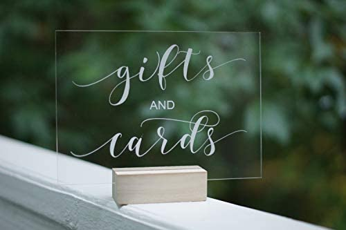 Gifts and Cards Acrylic Calligraphy Sign | Wedding Shower Reception | Glass Like Clear Modern Formal Elegant Vintage Rustic | Placard Card | Lettering Script Handwriting Print | Cedar and Ink