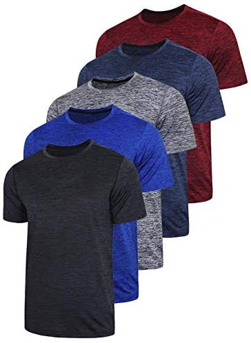 5 Pack Men's Active Quick Dry Crew Neck T Shirts   Athletic Running Gym Workout Short Sleeve Tee Tops Bulk