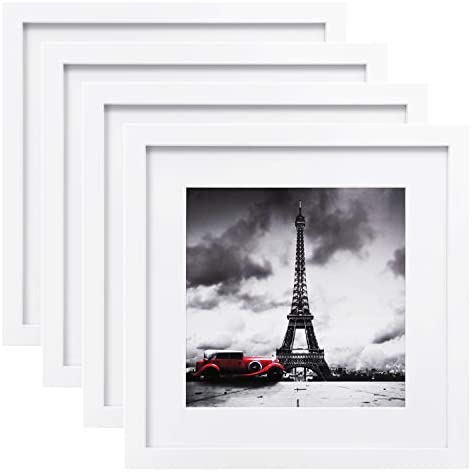 Egofine 11×11 Picture Frames 4 PCS, Made of Solid Wood for Pictures 4×4/8×8 with Mat for Table Top Display and Wall Mounting Square Photo Frame White