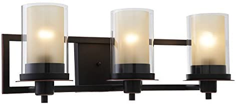 Designers Impressions Juno Oil Rubbed Bronze 3 Light Wall Sconce/Bathroom Fixture with Amber and Clear Glass: 73473