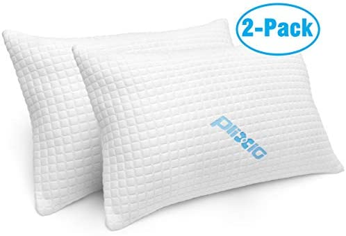 2 Pack Shredded Memory Foam Bed Pillows for Sleeping – Bamboo Cooling Hypoallergenic Sleep Pillow for Back and Side Sleeper – Queen Size